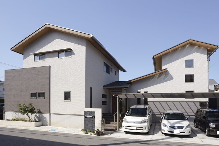 施工事例|安水建設|愛知県三河エリアの木造注文住宅・リフォームほどよくつながったなごみの家 ~モダン二世帯住宅~