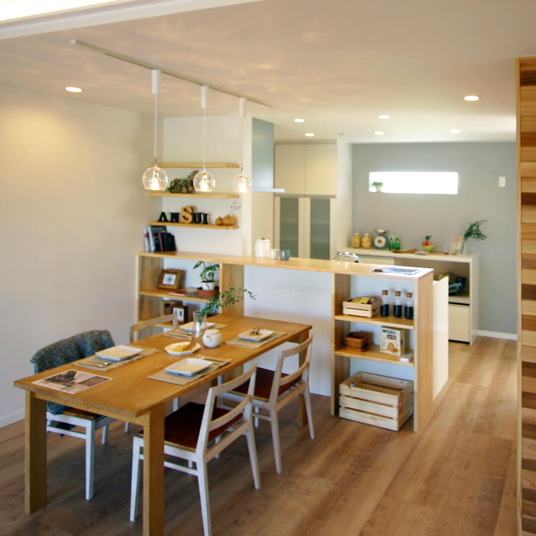 注文住宅|安水建設|愛知県三河エリアの木造注文住宅・リフォームダイニングテーブル、横に置くか?前に置くか?