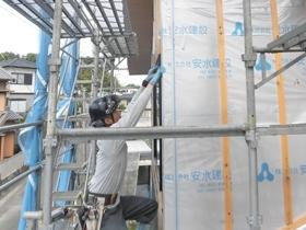 非公開: 展望デッキのある和邸(建築中) 外壁工事