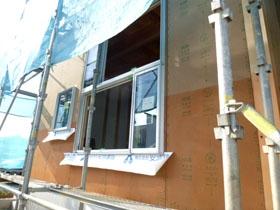 非公開: 暮らしを彩る中庭のある家(建築中) 外壁工事