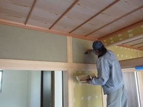 非公開: モダンの中に和漂う家(建築中) 左官工事