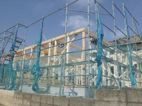 非公開: 無垢一枚板カウンターのある和邸(建築中) 上棟の様子