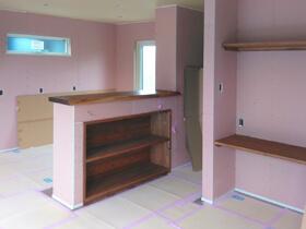 タノしく、ラクする家 キッチン腰壁造作
